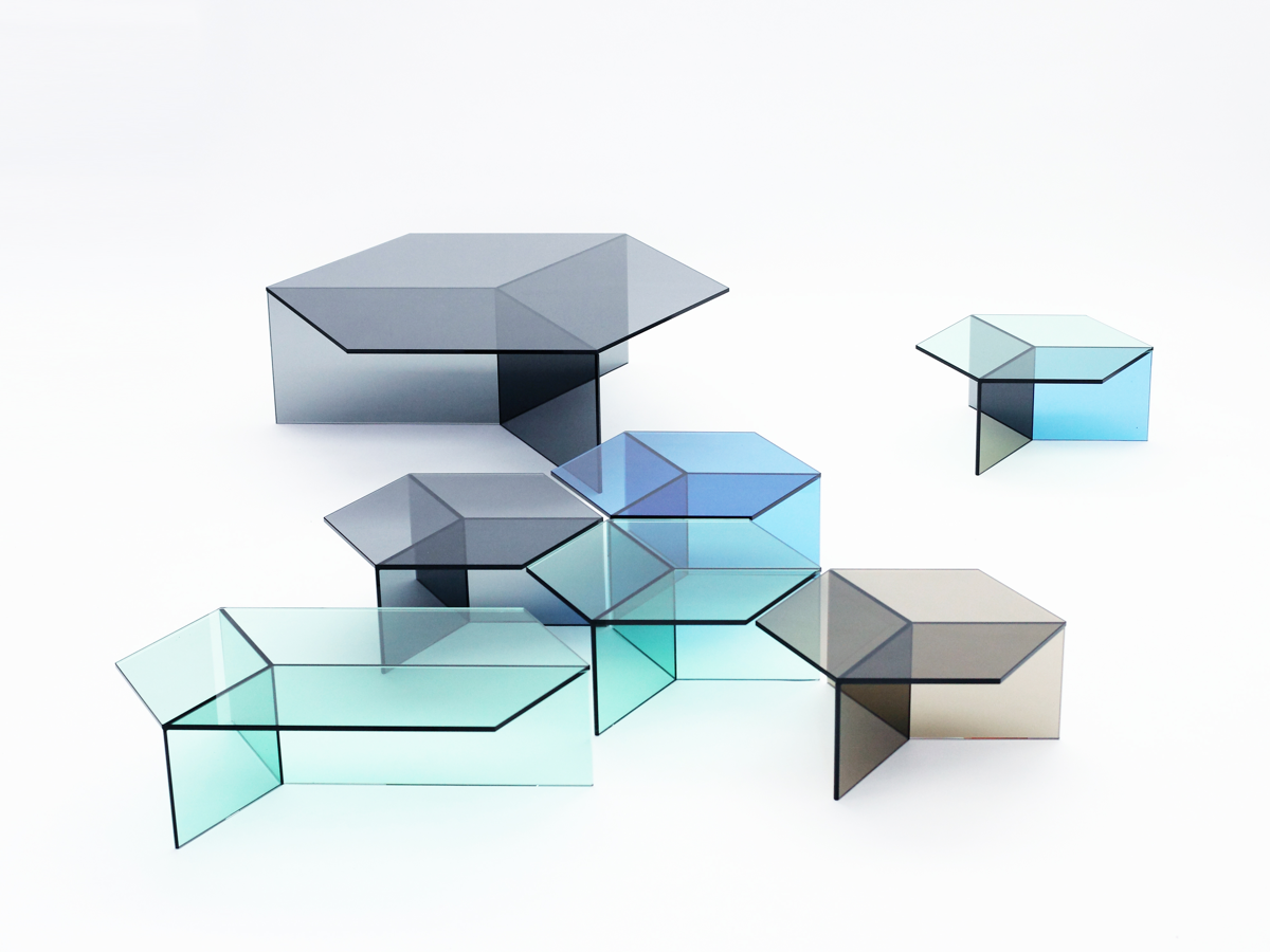 German Designer Sebastian Scherer Has Created A Series Of Tables Called Isom.  The Tables Are Made Completely In Sheets Of Blue, Green, Grey, ...