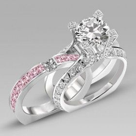 Ladies 925 Sterling Silver With Round Cut Created Pink Sapphire Wedding Engagement Ring NSzEX7qBs