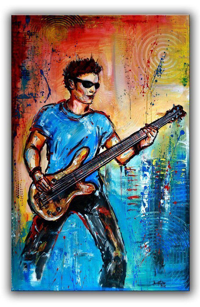 BURGSTALLER Musiker Bild Gitarrist handgemalt Gemälde Acryl Malerei ...