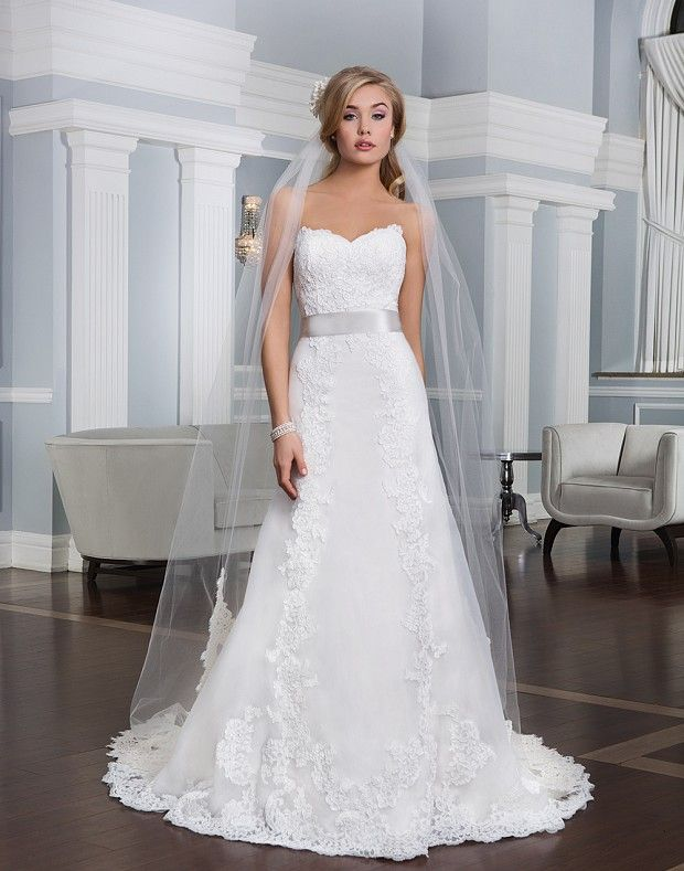 Style 6334: Organza A-line dress accentuated with a sweetheart ...