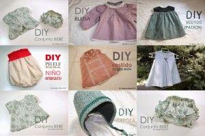 Varios patrones de vestiditos y ropa para niñas.
