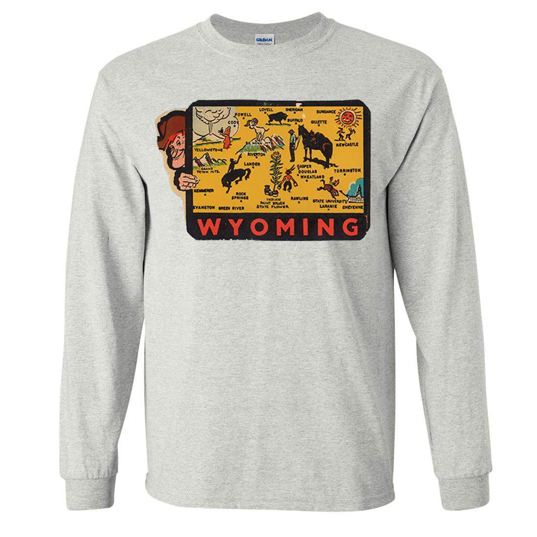 Vintage State Sticker Wyoming Long Sleeve Shirt