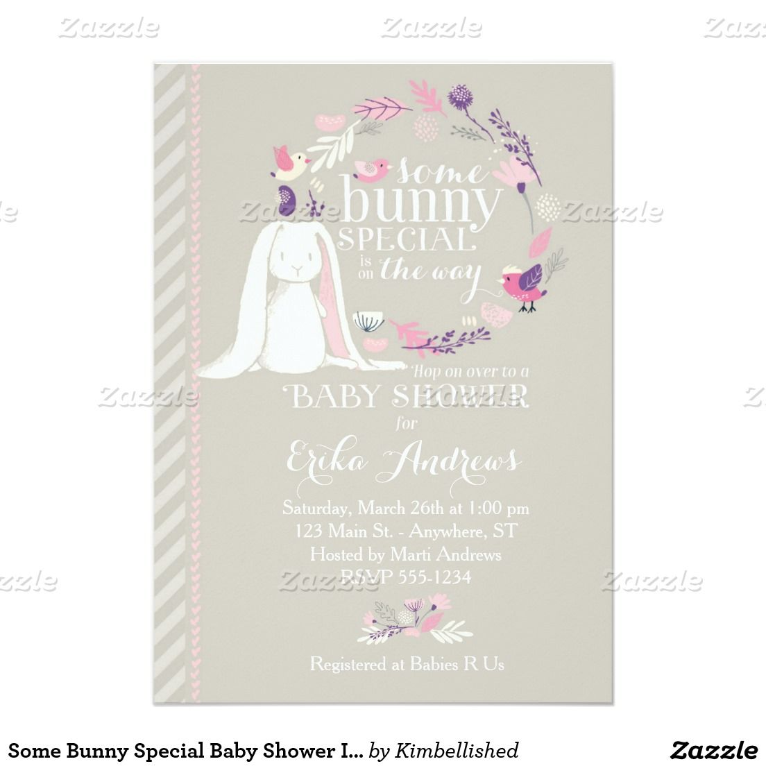 Some bunny special spring baby shower invitation graypinkpurple some bunny special spring baby shower invitation graypinkpurple by kimbellished filmwisefo Image collections