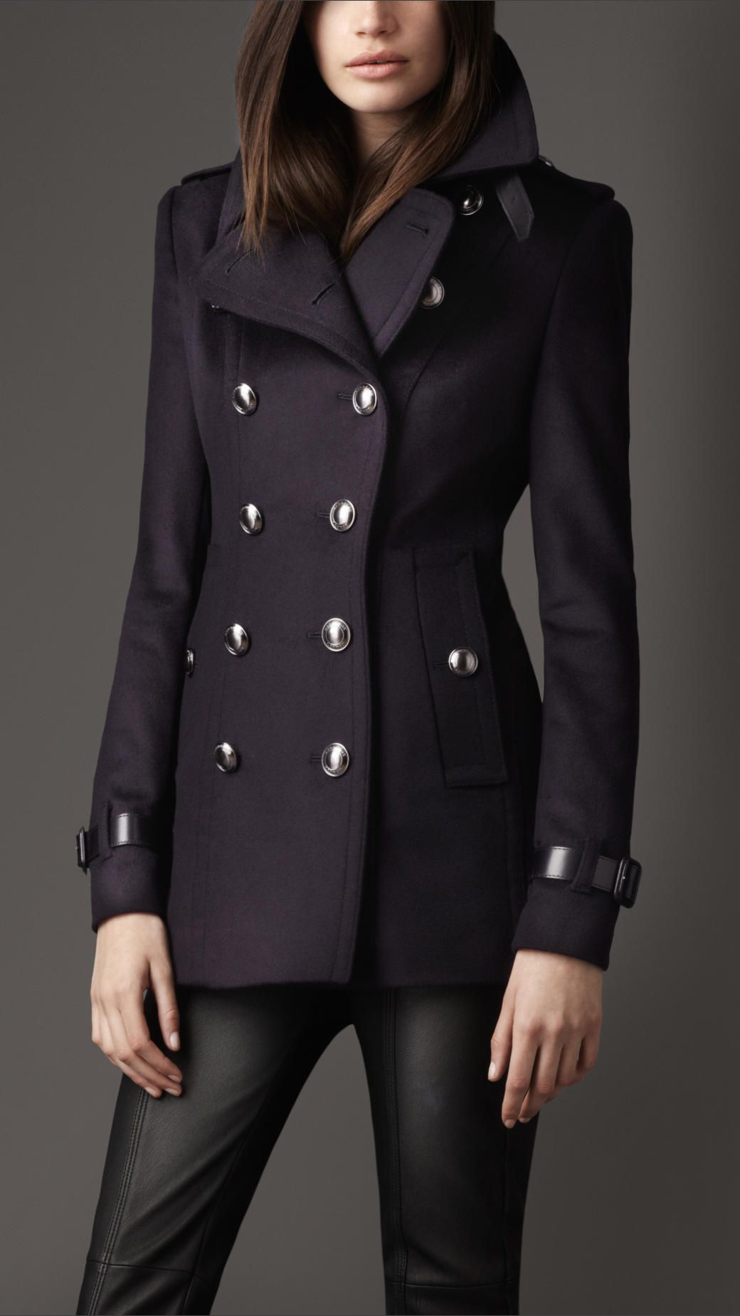 Burberry Short Wool Cashmere Trench Coat in Blue (navy) | Fashion ...