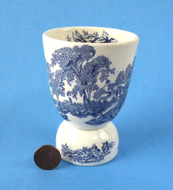Eggcup Vintage Blue Transferware Toile by AntiquesAndTeacups