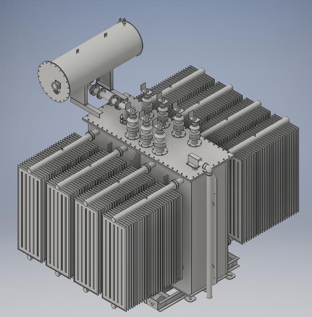 High Voltage Power Transformer for Substation - KeyCreator,Autodesk on solidworks cad, vectorworks cad, nx cad,