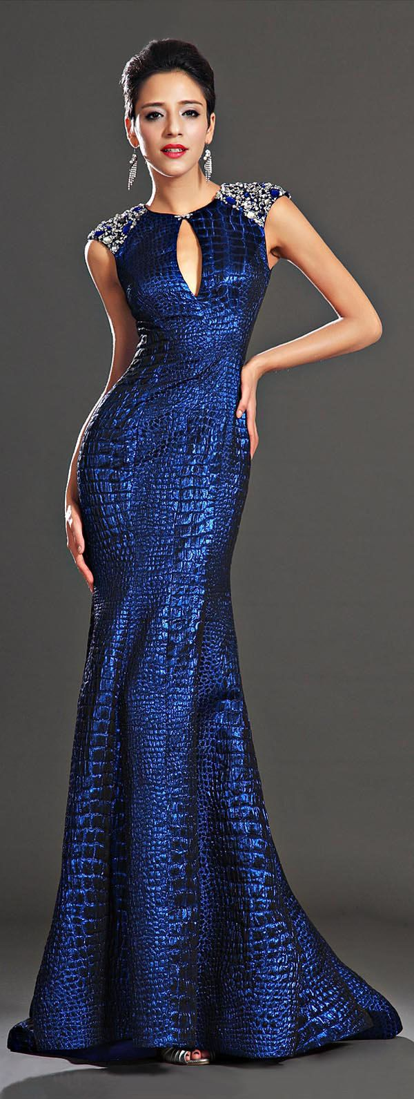 Adorable sapphire blue evening dress dress wraps