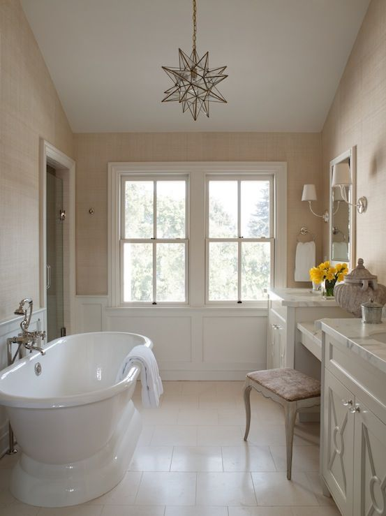 Benjamin Dhong Gorgeous Ensuite With Sand Grasscloth Wallpaper,  Wainscoting, Freestanding Tub, Moravian Star