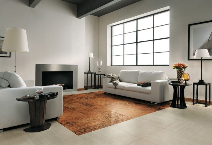 Brown White Modern Living Room Tiled Floor Living Room Tiles Design, Home  Tiles Design,