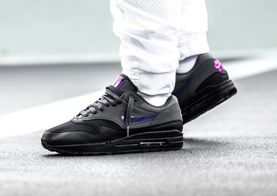 Nike Air Max 1 Black, Fierce Purple, Pink Blast & Wolf