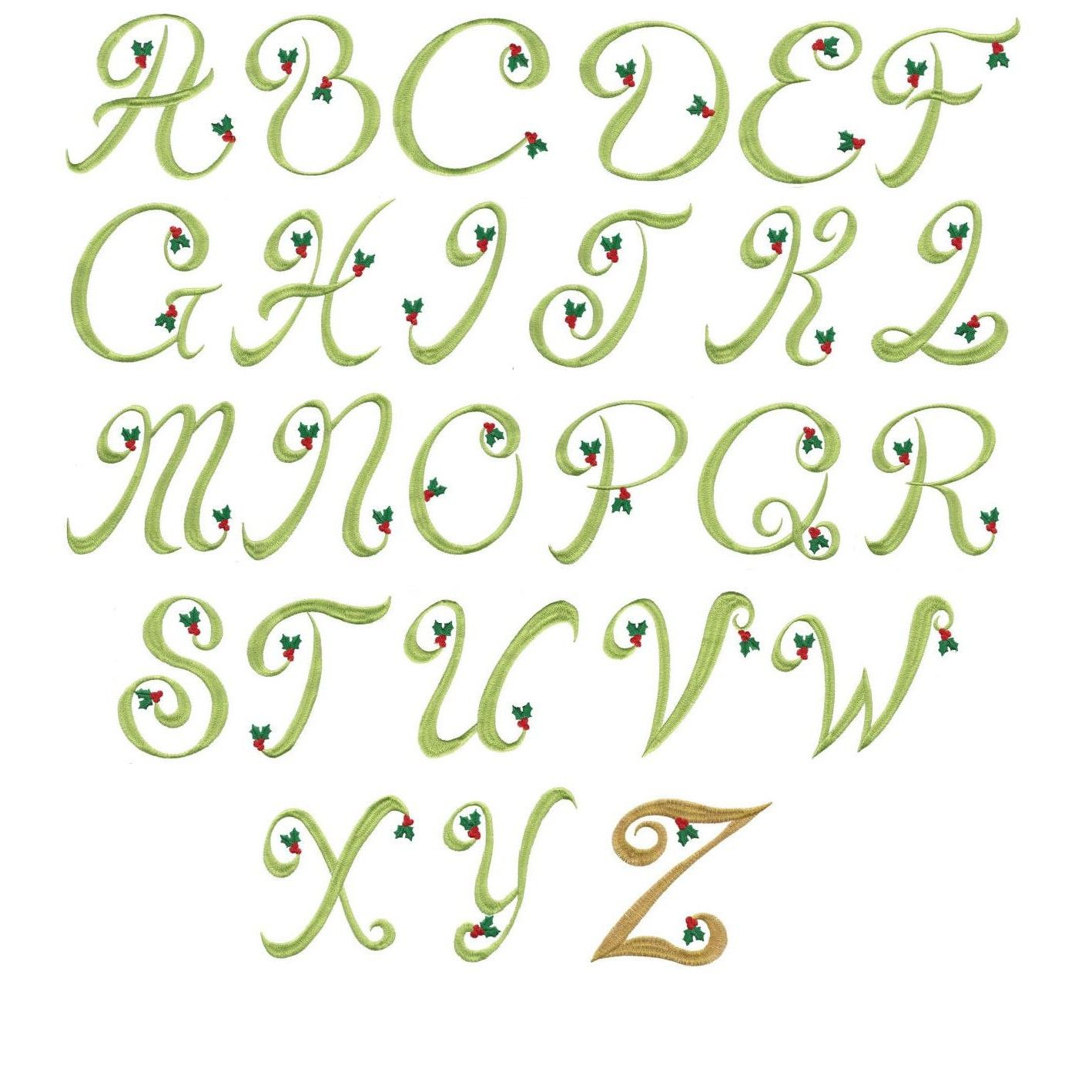 Holly monogram machine embroidery alphabet font designs