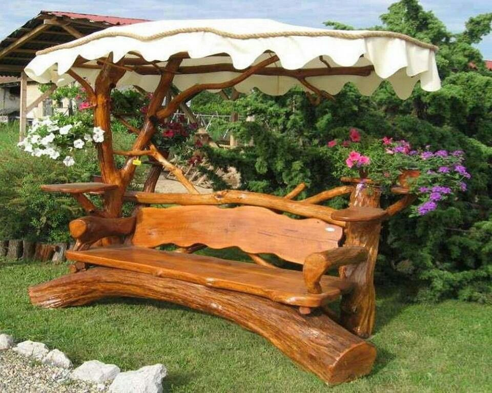 Beautiful Wood Bench With Canopy Rustic Bench Carved Furniture Outdoor Design