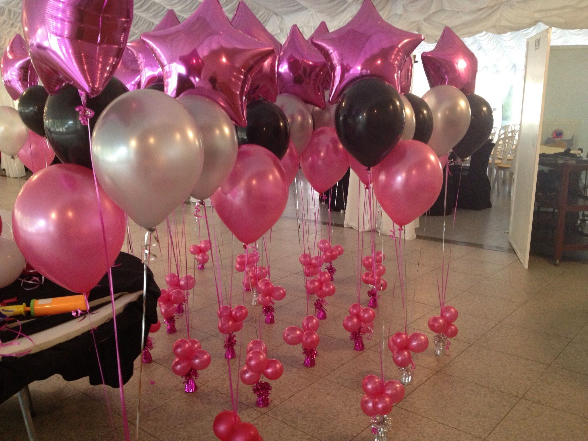 Pink Black And Silver Balloons