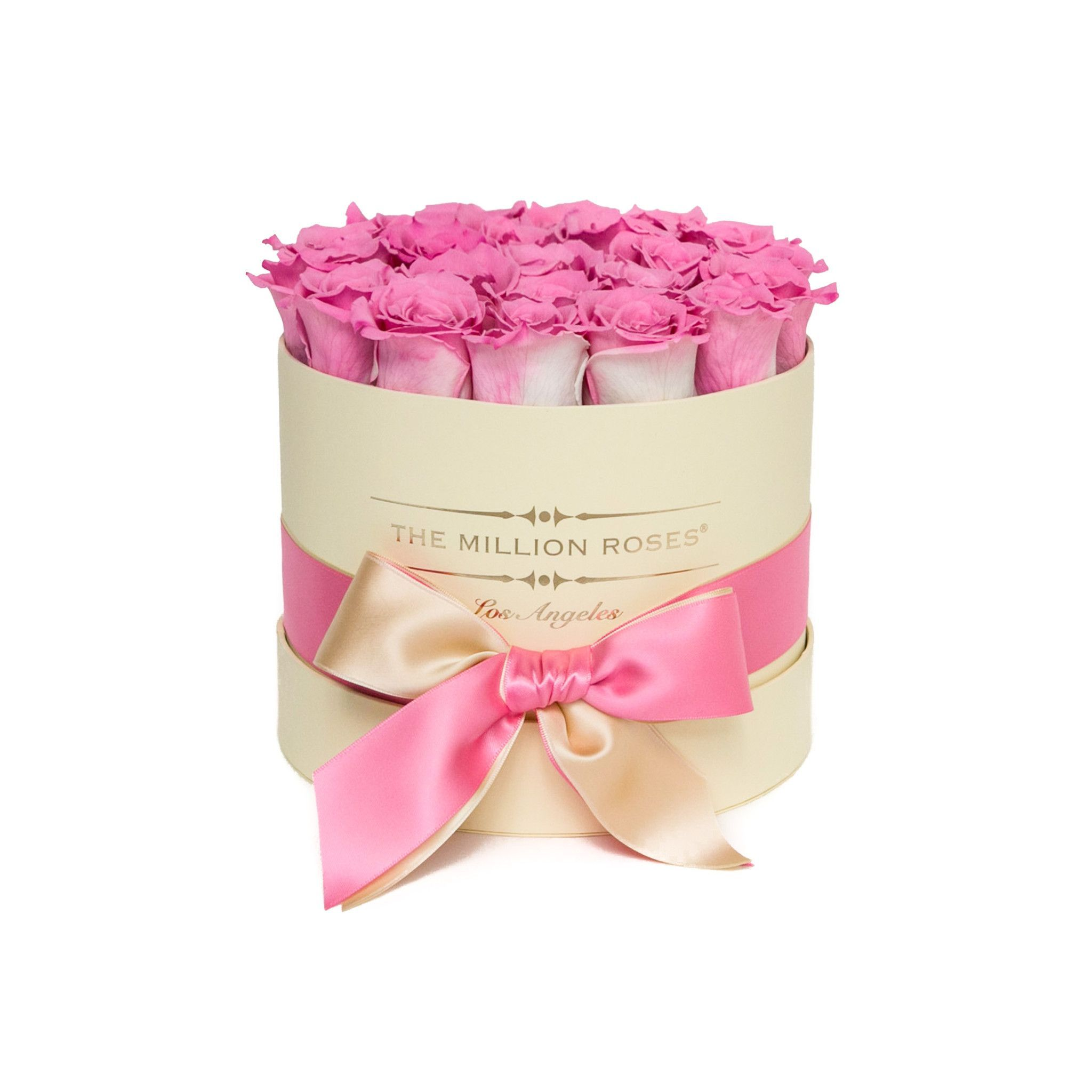 small round box - vanilla - pink-candy ETERNITY roses | Pink candy ...