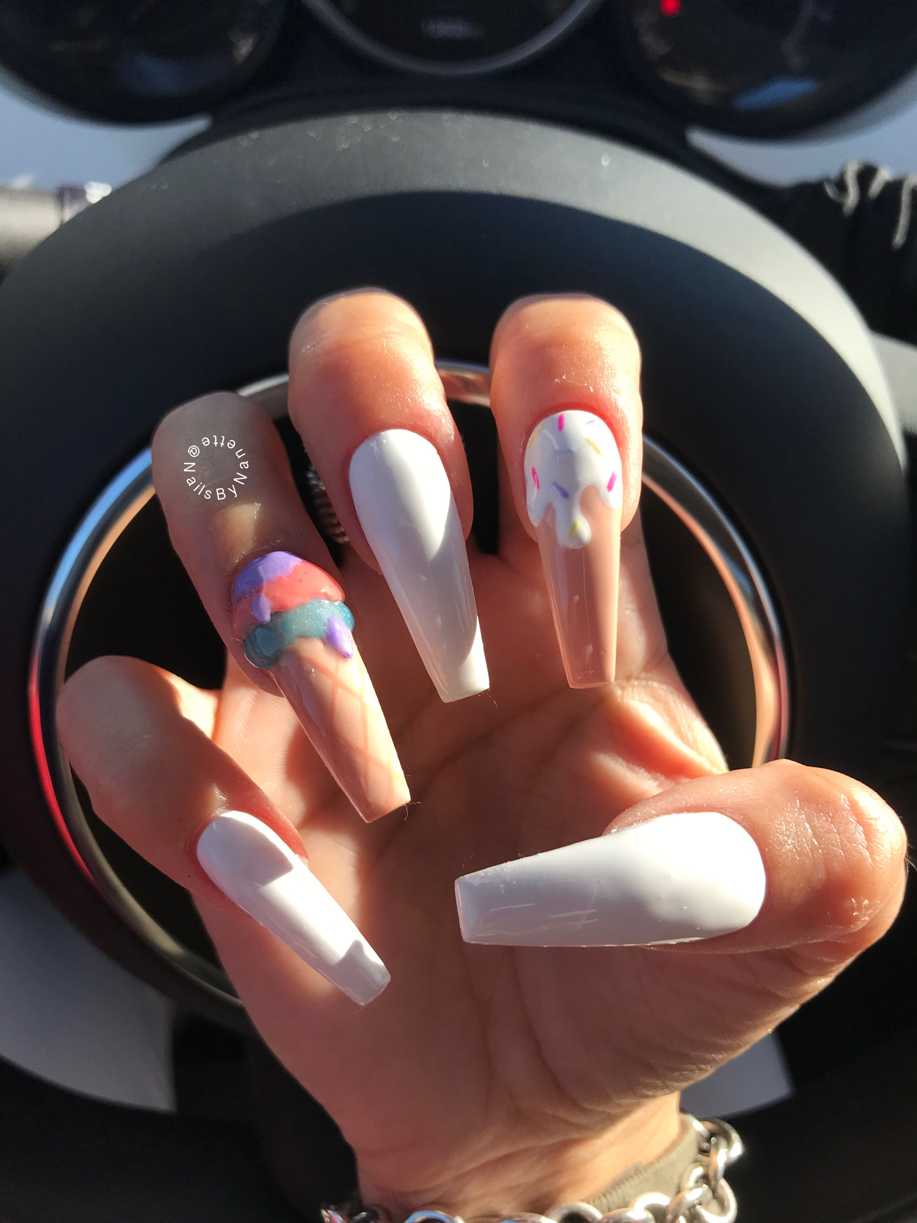 Extra Long Coffin Nails Ice Cream Nail Design White Coffin Nails Cream Nail Designs Coffin Nails Long Ice Cream Nails