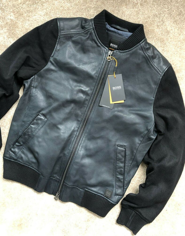 1a396b280 eBay #Sponsored HUGO BOSS CASUAL NAVY LEATHER BOMBER JACKET COAT ...