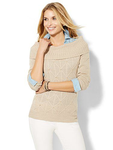 Shop Rhinestone Cowl-Neck Sweater . Find your perfect size online at the best price at New York & Company.
