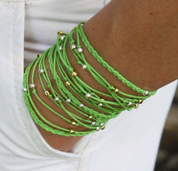 BOHO Beach Beaded Wrap Bracelet  Lime Green TRIPLE by WrappedinYou, $18.95