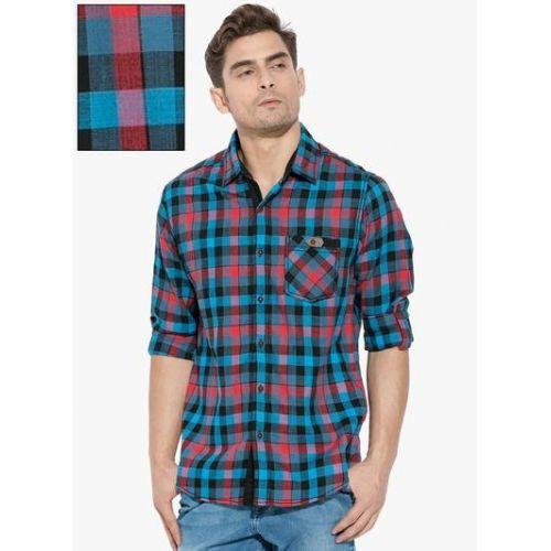 9cf33f3efb Buy Mufti Blue Checks Slim Fit Casual Shirt   Looksgud.in
