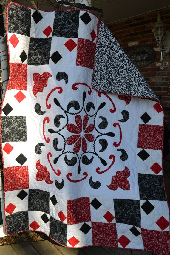 Black Red And White Bandanna Paisley Applique Quilt Tablecloth