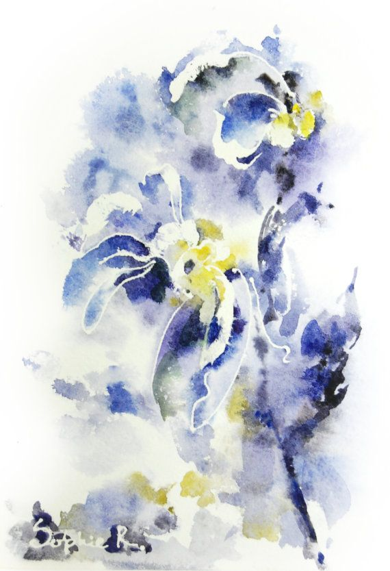 Watercolor Abstract Flowers In Vase By Evgenia Smirnova