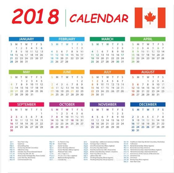 canada 2018 calendar with holidays list