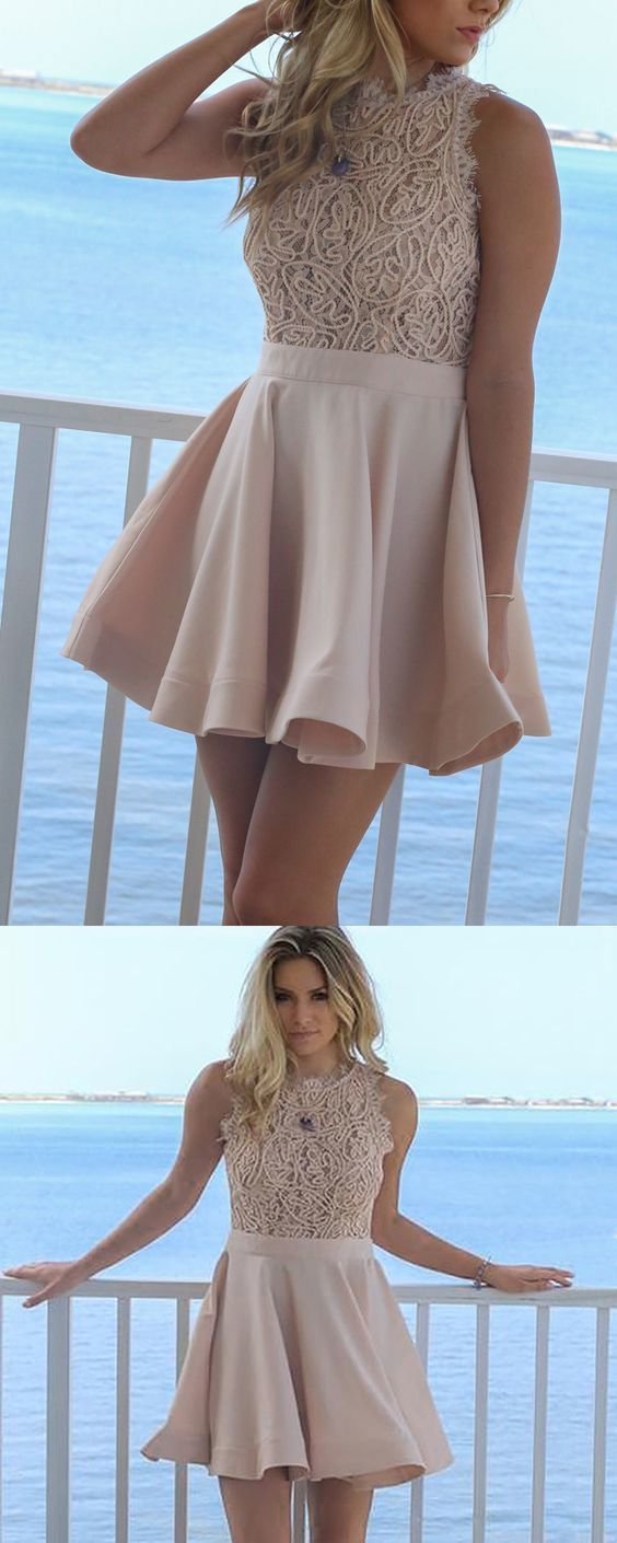 Aline round neck short blush satin homecoming dress with lace