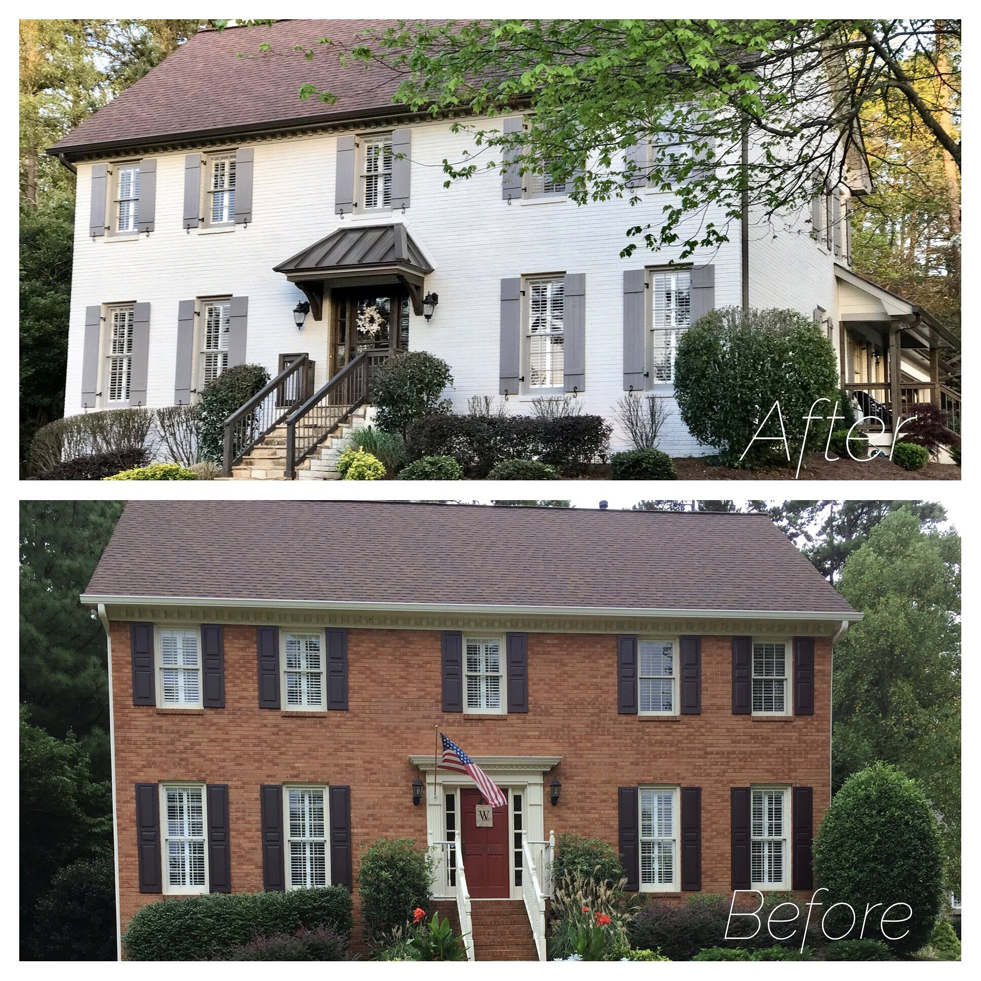 Brown Roof Painted Brick Before And After