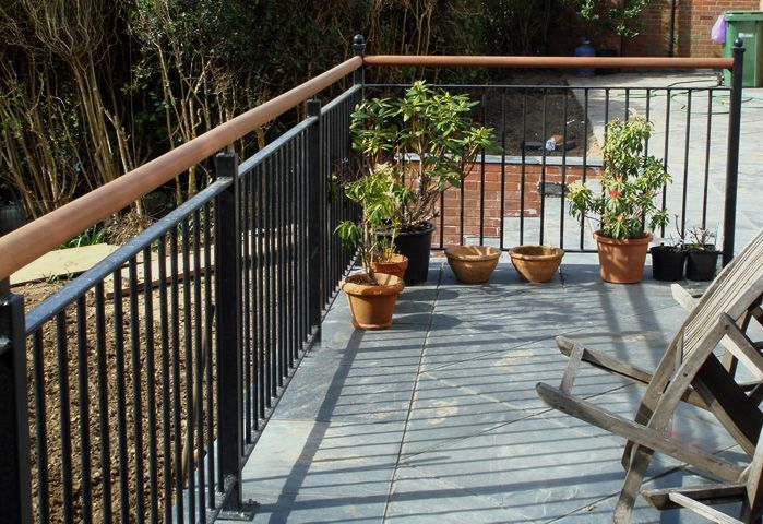 Patio Railings With Wooden Handrail