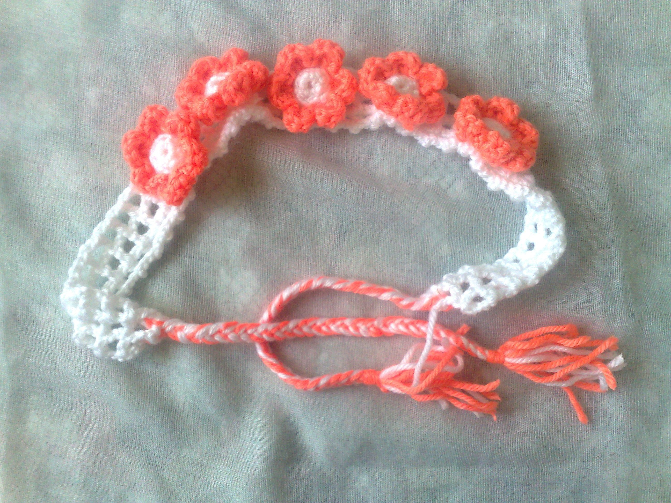 Flowers hair jewelry, white crochet headband with orange flowers ...