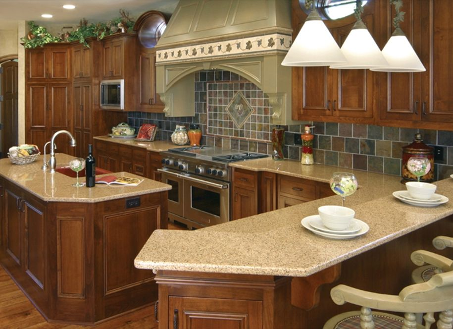 Pictures Gallery Of Stunning Quartz Kitchen Countertop In The Middle