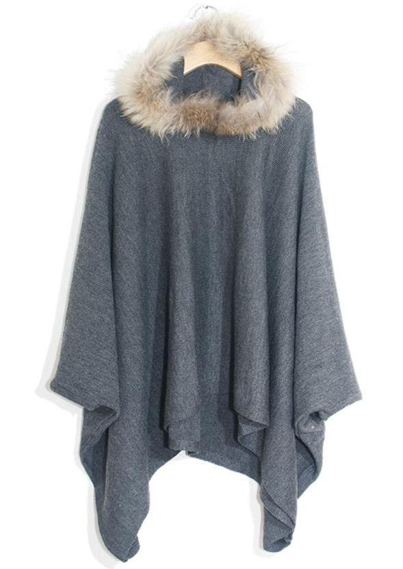 Gris con capucha de piel de la manga del Batwing del Cabo Abrigos - Sheinside.com