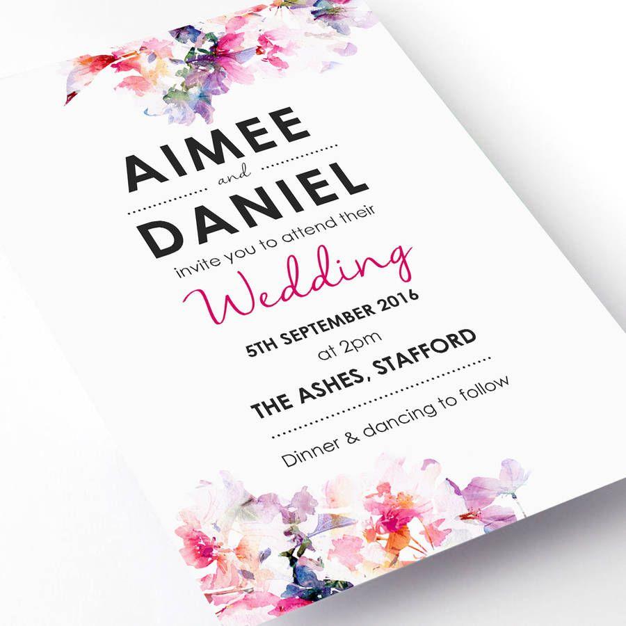 Watercolour Fl Wedding Invitation