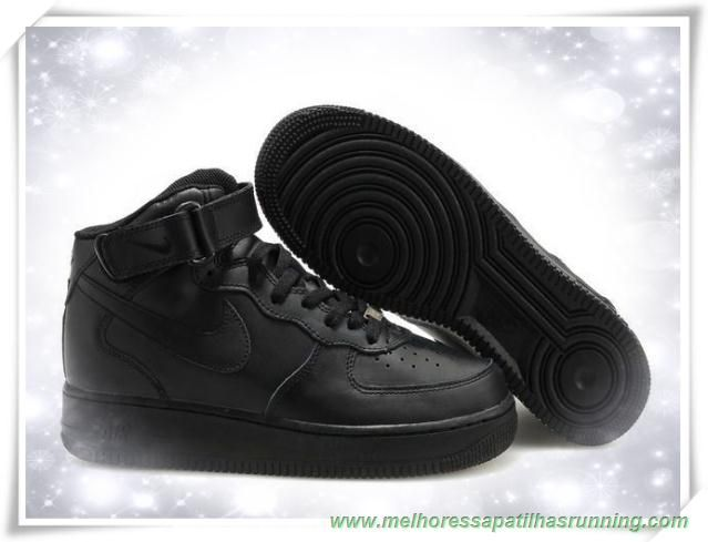 newest cf894 f3a16 sapatilhas running Masculino 315123-001 Preto Preto Preto Nike Air Force 1  Mid 07