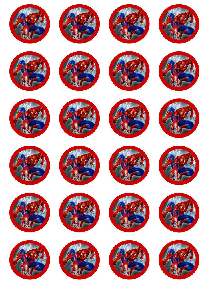24 Edible 1 5 Quot Rice Paper Cupcake Cake Toppers Spiderman