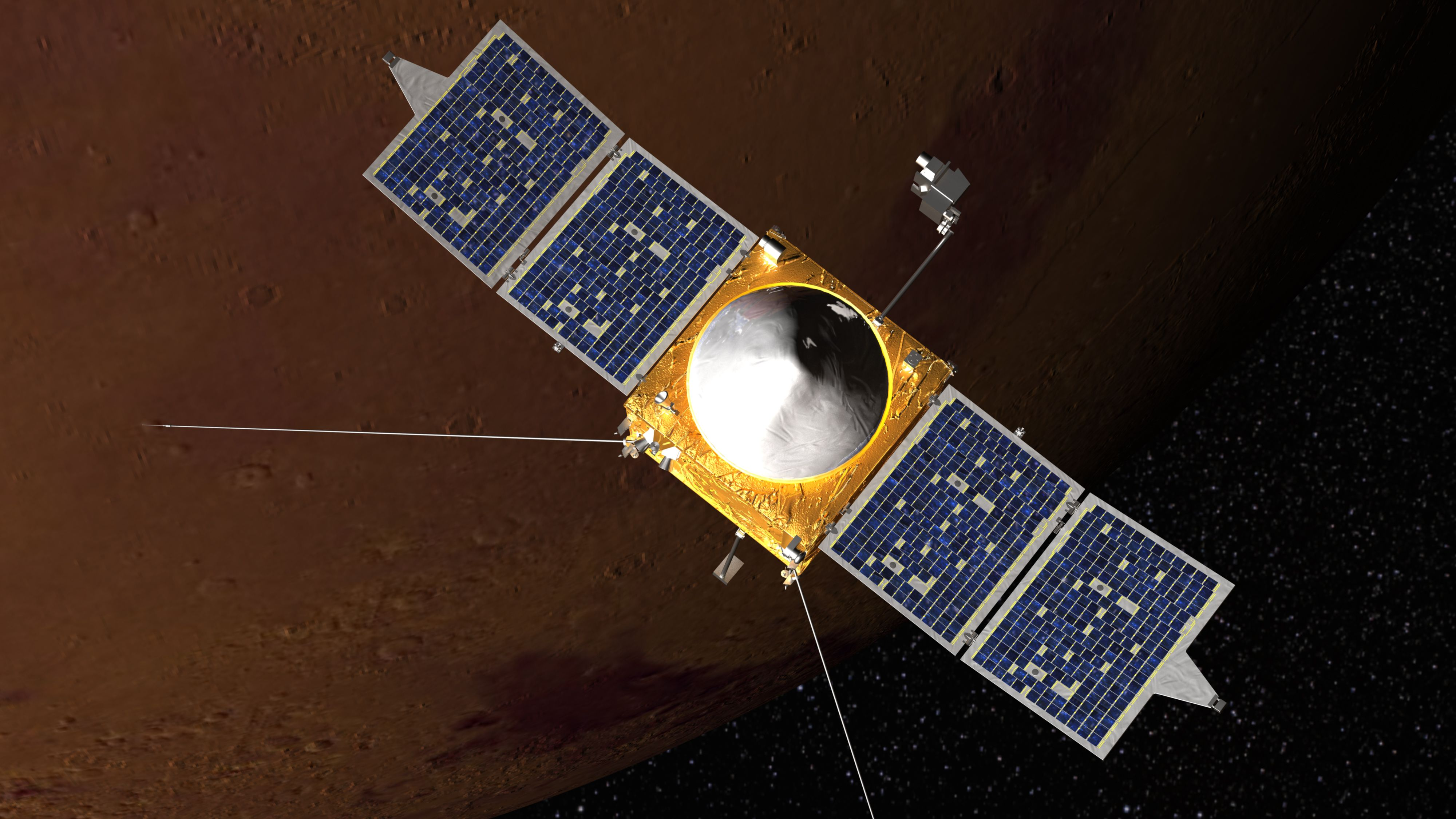 An artist's interpretation of NASA's MAVEN mission, with Mars in the background. The probe is scheduled to start orbiting Mars on Sept. 21.
