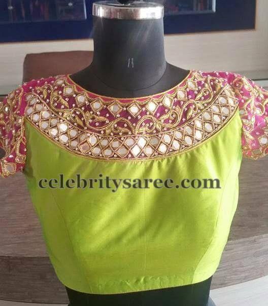 bd2b5988f9985 Parrot Green Boat Neck Blouse | Saree blouse | Saree blouse patterns ...