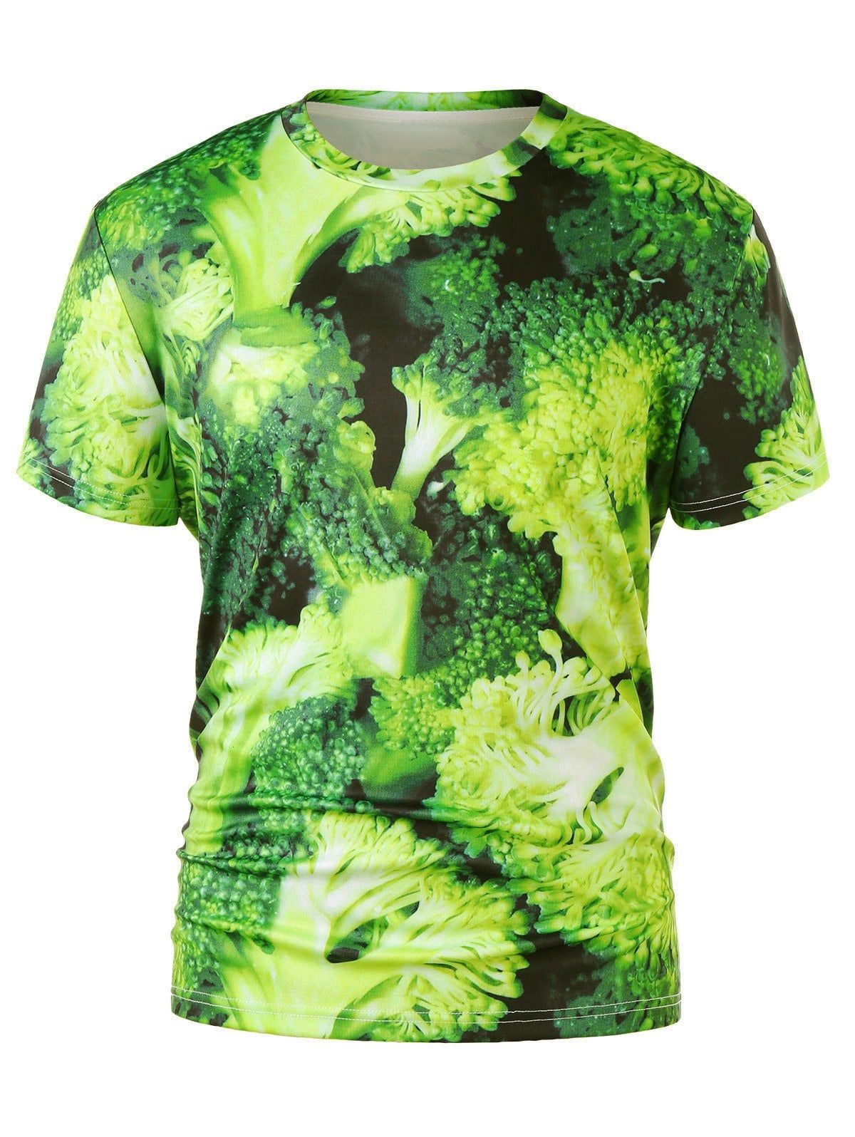 5dc89c3c4b7a 3D Broccoli Print Crew Neck T-shirt - GREEN SNAKE 2XL