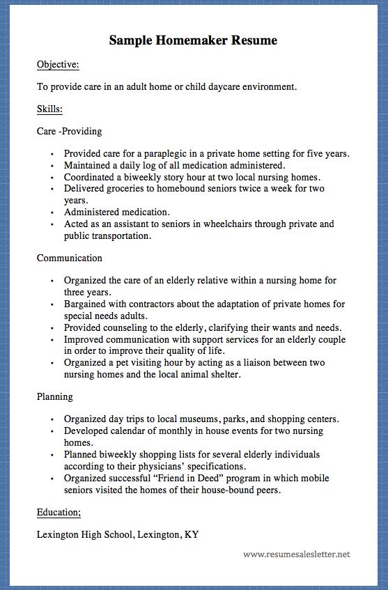 resume examples for homemaker returning to work
