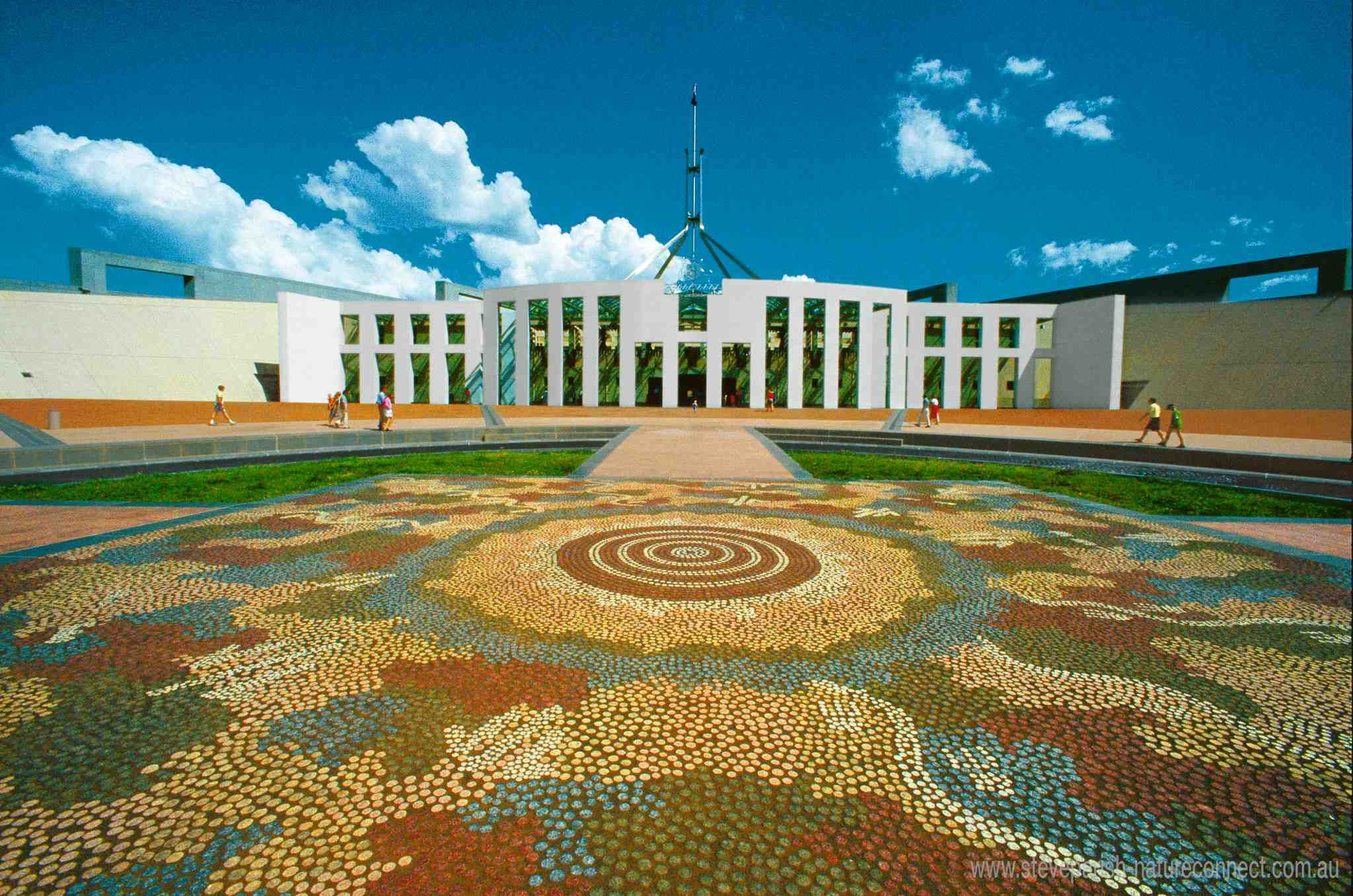 Aboriginal artwork outside of Parliament house in Canberra