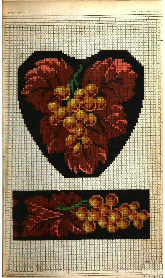 """Slipper pattern, Peterson's, 1858. """"Nothing more beautiful than our slipper pattern was ever seen in a Magazine. It may be worked, if preferred, in green and purple, instead of in brown and gold."""""""