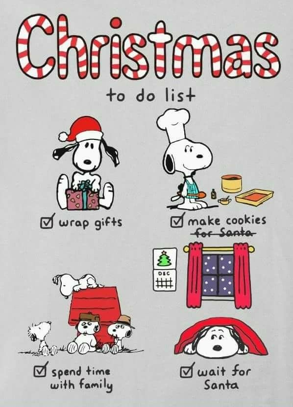 christmas to do list peanuts snoopy weihnachten. Black Bedroom Furniture Sets. Home Design Ideas