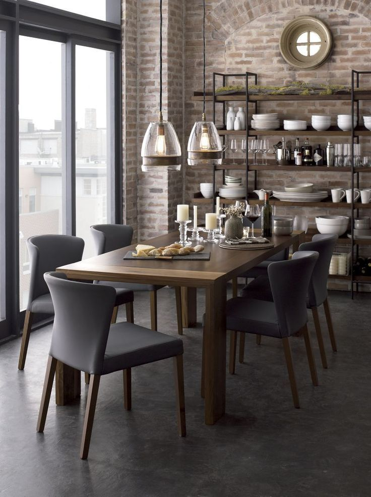 Big Dining Room Ideas Part - 26: Eclectic Dining Room With Concrete Floors, Crate And Barrel Curran Grey  Side Chair, Interior Brick, Built-in Bookshelf