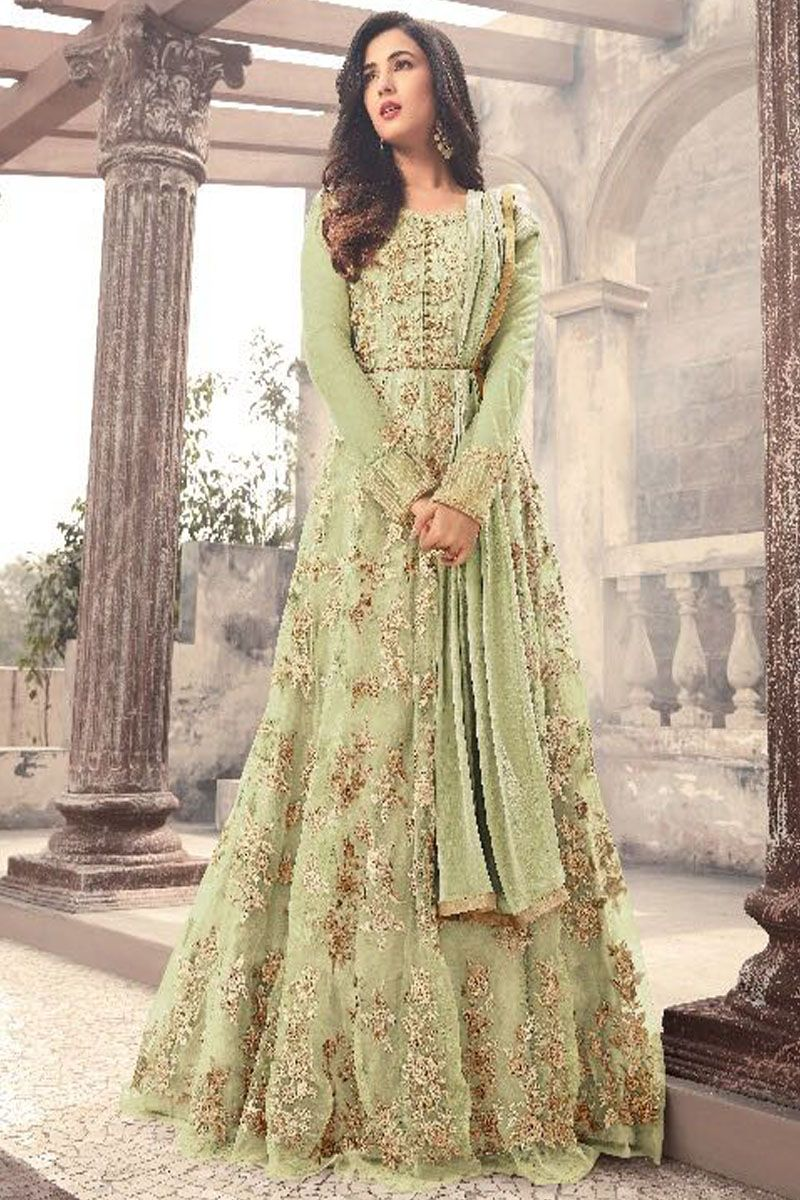 78ae52bdc6c Pista Green Color Traditional Designer Embroidered Party Wear Bollywood  Style Women Fashion Net Fabric Wedding Wear