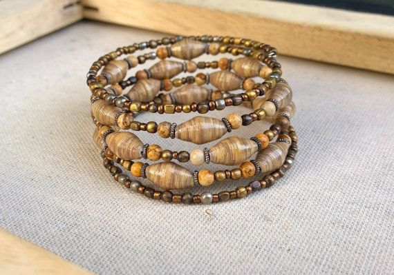 Paper Picture Jasper and Metal beaded memory wire by stillrain