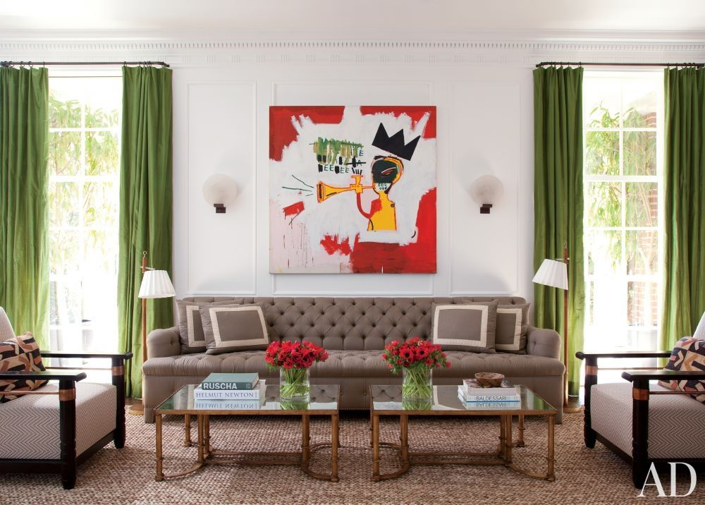 Tufted sofa AND a Basquiat. Sigh.