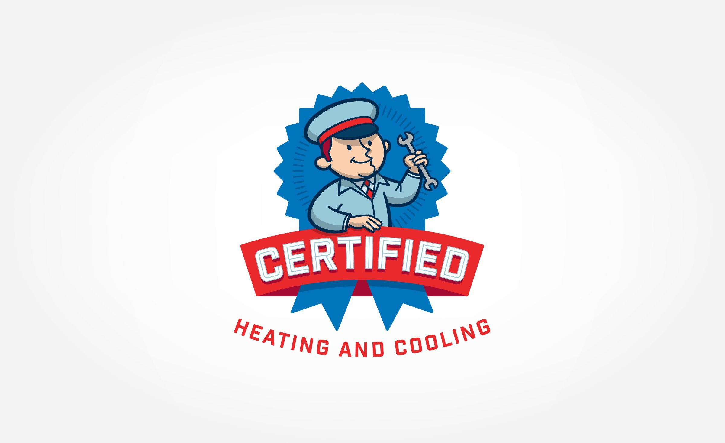 Certified Heating And Cooling Kickcharge Creative Logo Design