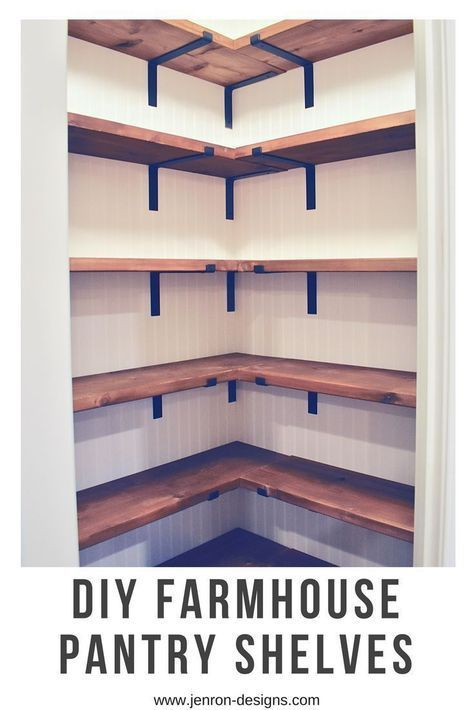 DIY Farmhouse Pantry Shelves. Would be nice to have shelves in our laundry room.