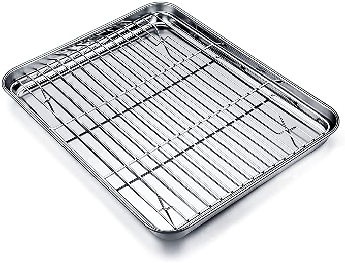 Amazon Com Teamfar Baking Tray And Rack Set Stainless Steel Baking Pan Cookie Sheet With Cooling Rack 12 5 X 10 X In 2020 Clean Dishwasher Easy Cleaning Dishwasher