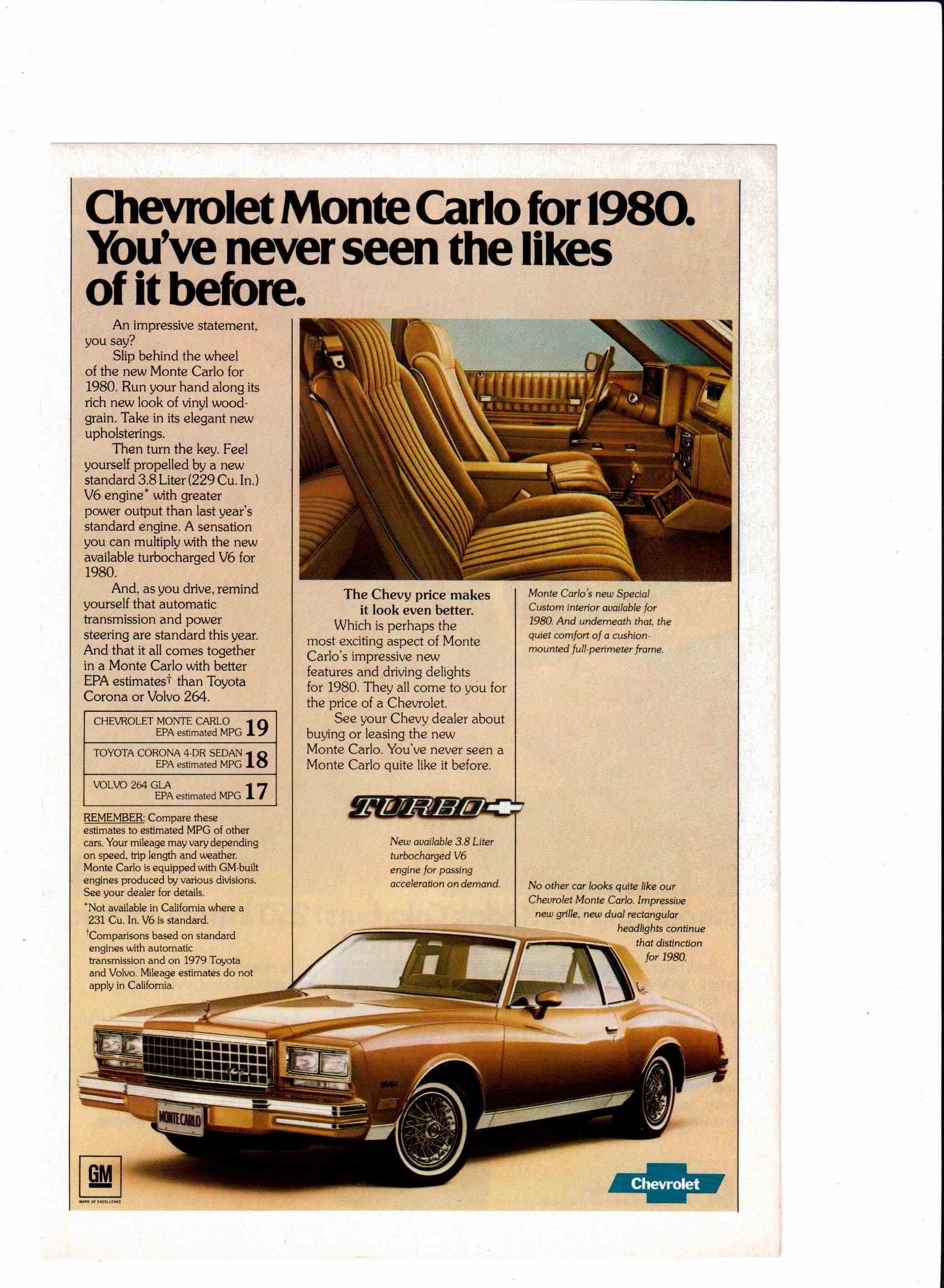 1980 Chevy Monte Carlo Automobile Advertising Chevy Monte Carlo